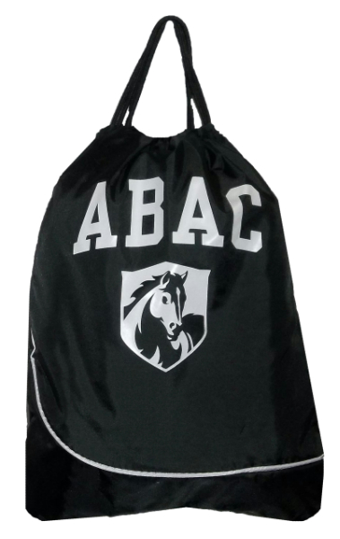 Drawstring Bag, Black with ABAC and Shield in White (SKU 1000042714)