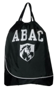 Drawstring Bag, Black with ABAC and Shield in White