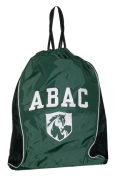 Drawstring Bag, Green and Black with Mesh Sides ABAC and Shield