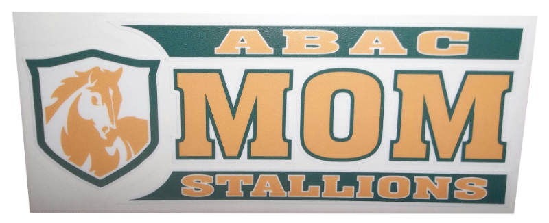 ABAC Mom Decal with Stallions and shield in Green and Gold (SKU 100668367)