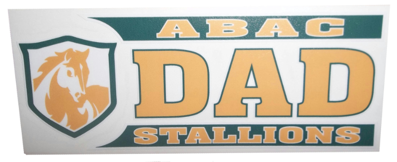 ABAC Dad Decal with Stallions and Shield in Green and Gold (SKU 100668437)