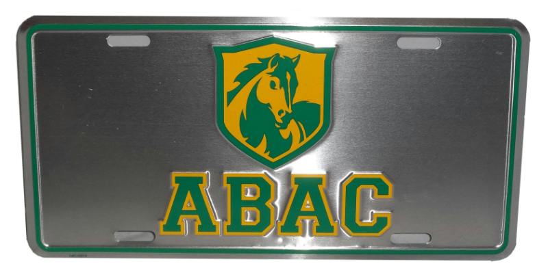 Plate License Metal Grey W/Abac Shield Green And Gold (SKU 100721277)