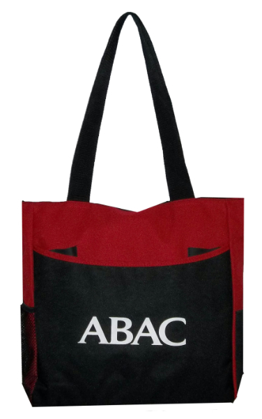 Cosmo Tote Bag, Black And Red With Abac In White (SKU 1007457213)