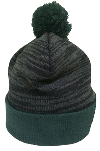 Beanie Pom Pom Abac Green And Charcoal