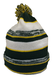 Beanie Pom Pom Abac Green And Gold Striped