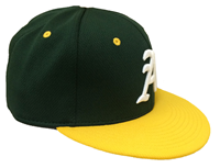 Cap Green A in White (Baseball) with Gold Bill