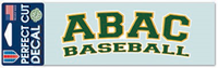 Decal Abac Baseball Green Outlined Gold And White