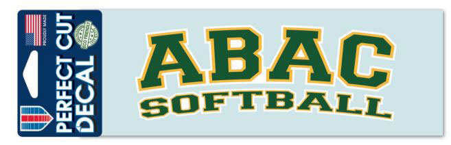 Decal ABAC Softball Green Outlined Gold and White (SKU 1015105127)