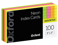 Index Cards 100ct Ruled Bright Colors