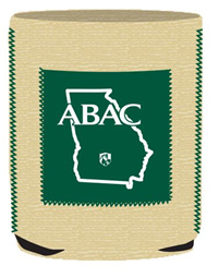 Burlap Koozie ABAC Shield with Green Pocket