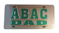 License Plate Mirrored ABAC Dad in Green Bar Design