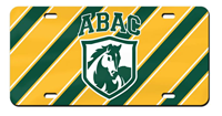 License Plate Green/Gold Striped Abac Shield