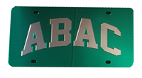 License Plate Green Mirrored ABAC in Silver