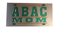 License Plate Mirrored ABAC Mom in Green Bar Design