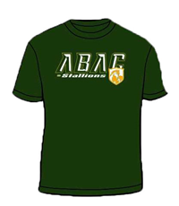Shirt ABAC White Outlined Gold Stallions Shield