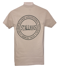 Shirt School Name Stallions Circle Design on Back