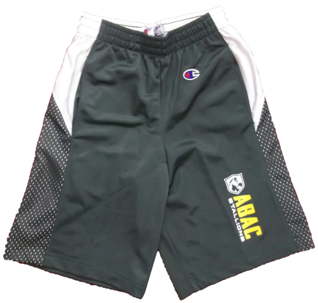 Youth Shorts with ABAC Stallions on left leg with Shield (SKU 1007113716)