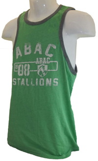 Ringer Tank With Abac 08  Stallions In Distressed White Print